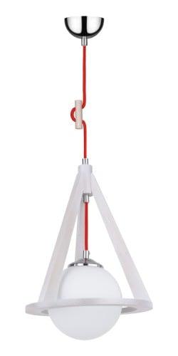 Lampa Dąb bielony/chrom/czerwony wisząca E27 60W