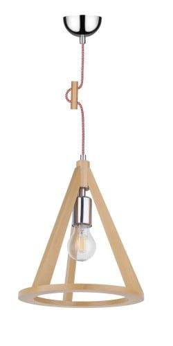 Lampa sufitowa bukowa/chrom/czerwono-biały E27 60W