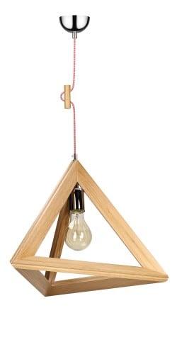 Lampa wisząca Trigonon Vertical dąb/chrom/czerwono-biały E27 60W