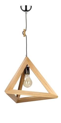 Lampa wisząca Trigonon dąb/chrom/czerwony E27 60W