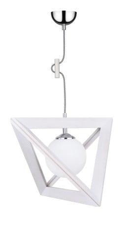 Lampa wisząca Kula Trigonon dąb bielony/chrom/czarno-biały E27 60W