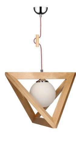 Lampa wisząca Trigonon Vertical Ball brzoza/chrom/czerwono-biały E27 60W