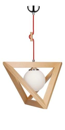 Lampa wiszaca trigonon buk chrom czerwony e27 60w l