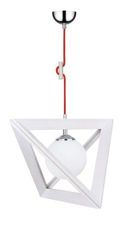 Lampa wisząca Trigonon Vertical Ball dąb bielony/chrom/czerwony E27 60W