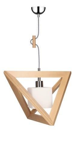 Lampa wisząca Trigonon Vertical Cube buk/chrom/czarno-biały E27 60W