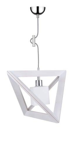 Lampa wisząca Sześcian Trigonon dąb bielony/chrom/czarno-biały E27 60W