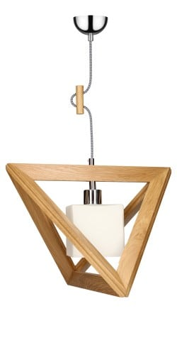 Lampa wisząca Trigonon Vertical Cube dąb/chrom/czarno-biały E27 60W