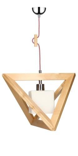 Lampa wisząca Trigonon Vertical Cube brzoza/chrom/czerwono-biały E27 60W
