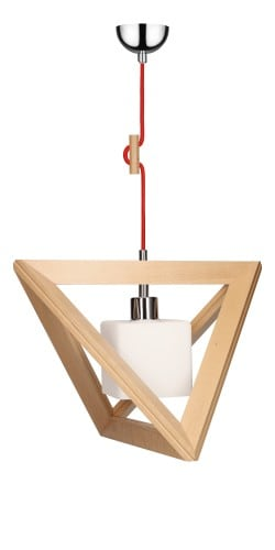 Lampa wisząca Trigonon Vertical Cube buk/chrom/czerwony E27 60W