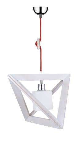 Lampa wisząca Trigonon Vertical Cube dąb bielony/chrom/czerwony E27 60W