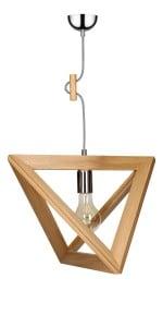 Lampa wisząca Trigonon dąb/chrom/czarno-biały E27 60W