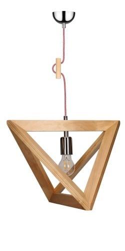 Lampa wisząca Trigonon Vertical brzoza/chrom/czerwono-biały E27 60W