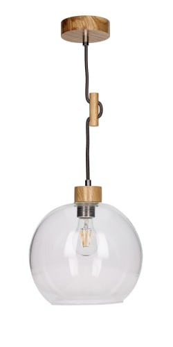 Lampa wisząca szklana przeźroczysta Svea dąb/antracyt E27 60W