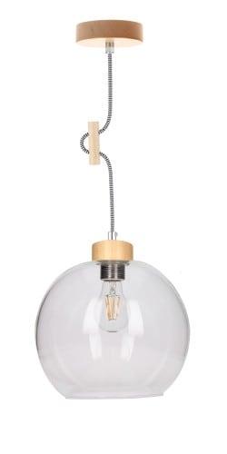 Lampa wisząca drewniana z przeźroczystym kloszem Svea brzoza/czarno-biały E27 60W