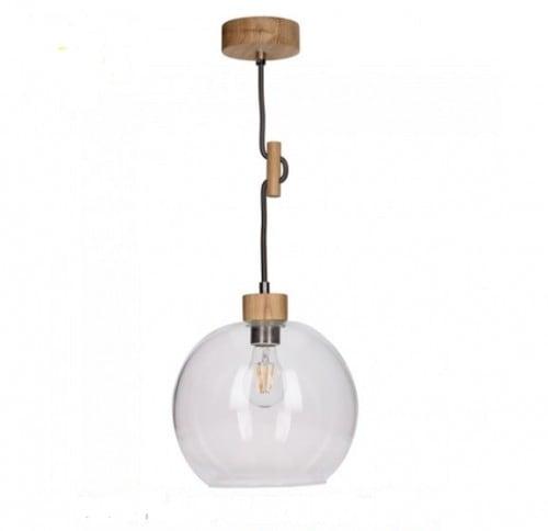 Lampa wisząca Szklana Svea dąb olejowany/czarno-biały E27 60W