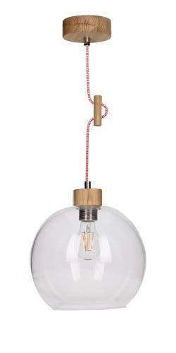 Lampa wisząca szklana Svea dąb olejowany/czerwono-biały E27 60W