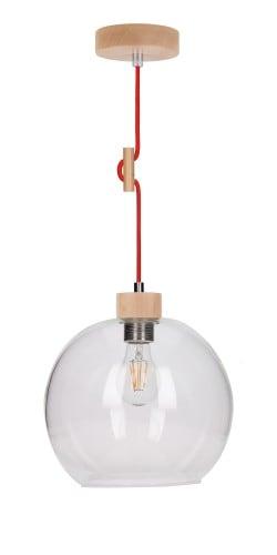 Lampa wisząca Svea buk/czerwony E27 60W
