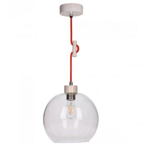 Lampa wisząca Svea dąb bielony/czerwony gładki klosz E27 60W