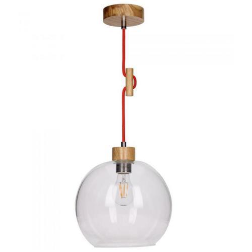 Lampa wisząca Svea dąb/czerwony gładki klosz E27 60W