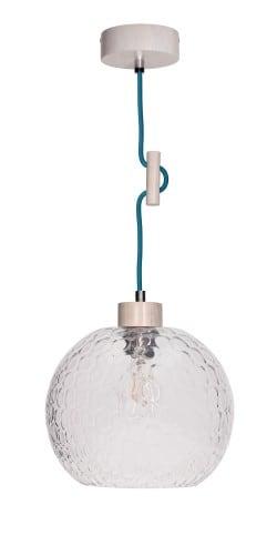 Lampa wisząca Svea Rozpraszająca dąb bielony/petrol E27 60W