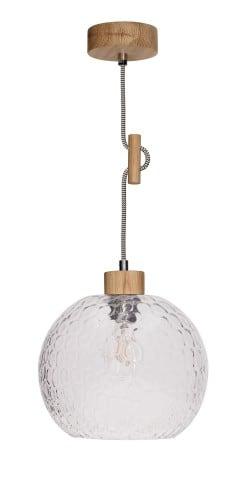 Lampa wisząca Rozpraszająca Svea dąb olejowany/czarno-biały E27 60W