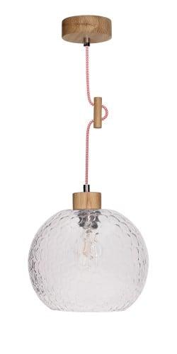 Lampa wisząca szklana rozpraszająca Svea dąb olejowany/czerwono-biały E27 60W