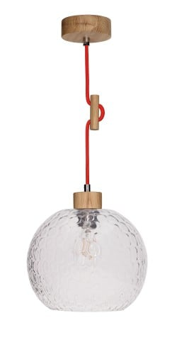 Lampa wisząca Svea dąb olejowany/czerwony E27 60W