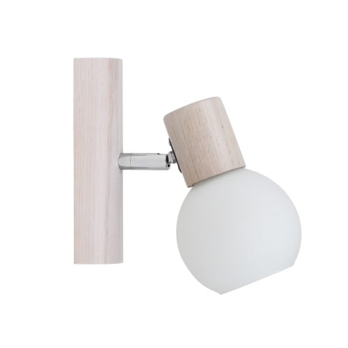 Kinkiet Karin biały dąb/chrom/biały E14 40W