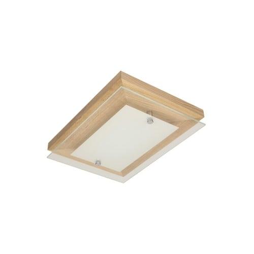 Plafon Finn dąb/chrom/biały LED 10W