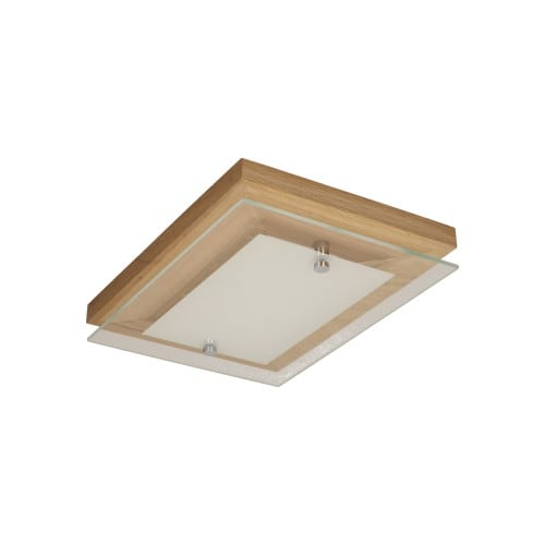 Plafon Finn dąb olejowany/chrom/biały LED 10W
