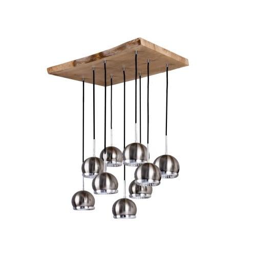 Dziewięciopunktowy Plafon Ball Wood dąb olejowany/antracyt/satyna GU10 5,5W