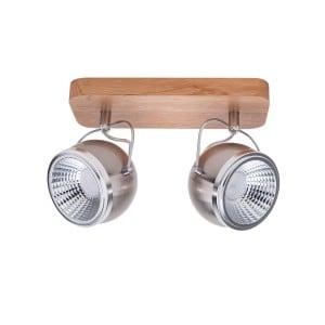 Listwa spot 2 Punktowa Ball Wood dąb olejowany/chrom/satyna LED GU10 5,5W