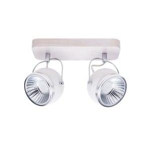 Listwa spot Ball Wood dąb bielony/chrom/biały Podwójna LED GU10 5,5W