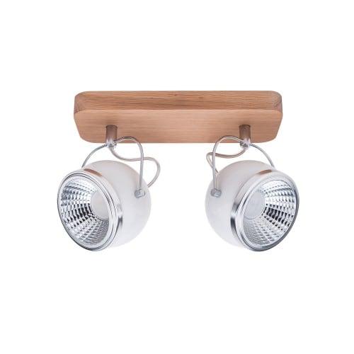 Listwa spot 2 punktowa Ball Wood dąb olejowany/chrom/biały LED GU10 5,5W