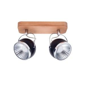 Listwa spot 2 pł. Ball Wood dąb olejowany/chrom/czarny LED GU10 5,5W
