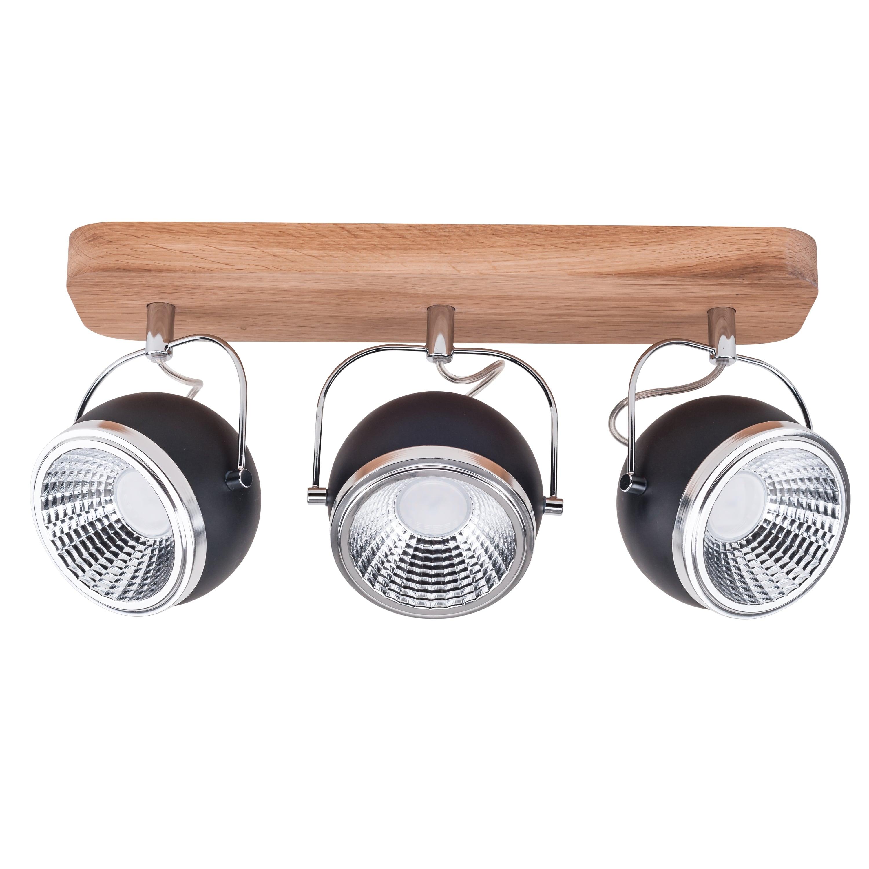 Listwa spot 3 pł. Ball Wood dąb olejowany/chrom/czarny LED GU10 5,5W