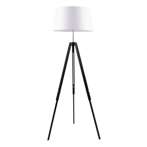 Lampy Podłogowa Czarny Trójnóg Beżowy Abażur