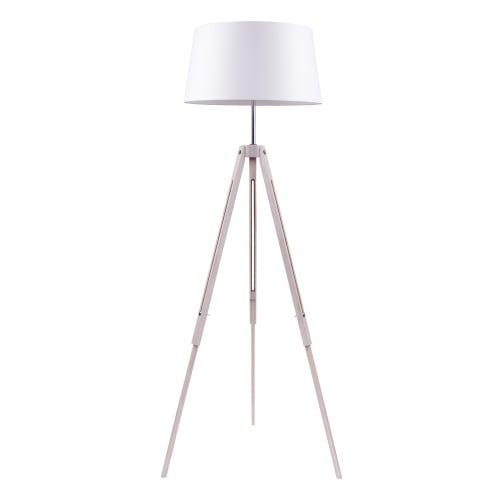 Lampa podłogowa Tripod dąb bielony/chrom/biały E27 60W