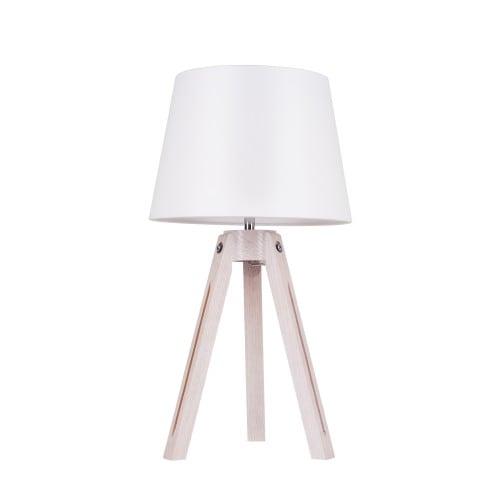 Lampa stołowa Tripod dąb bielony/chrom/biały E27 60W