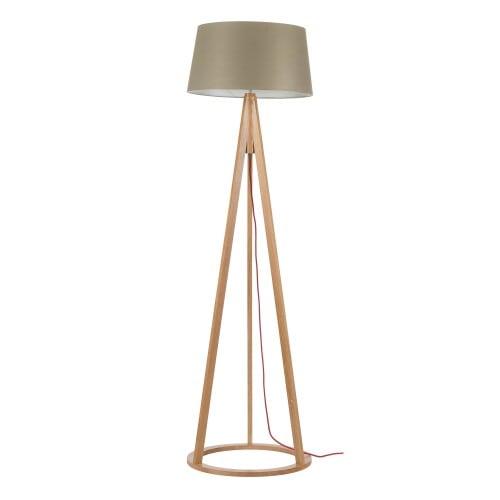 Lampa podłogowa Konan dąb/czerwony/szaro-brązowy E27 60W