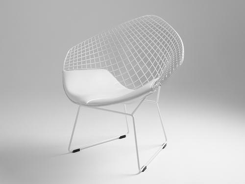 Krzesło DIAMENT - biały, poducha biała