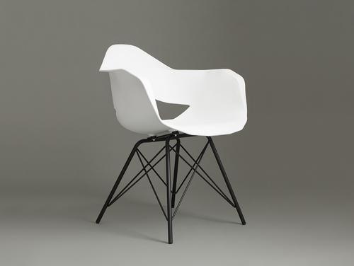 Krzesło MATCH ARMS METAL BLACK - biały