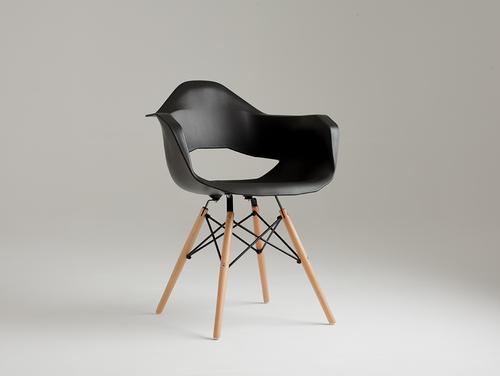 Krzesło MATCH ARMS WOOD - czarny