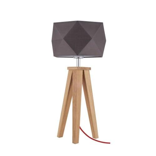 Lampa stołowa Finja dąb/czerwony/szaro-brązowy E27 60W