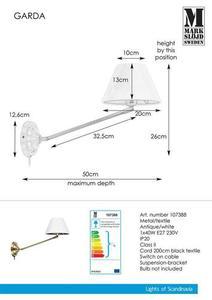GARDA Kinkiet 1L Antyczny/Biały small 0