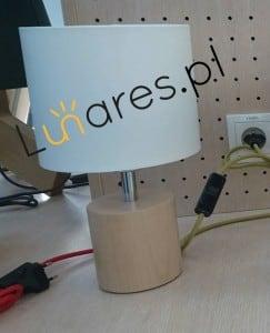 Lampa stołowa Trongo dąb olejowany różne kolory kabla biały E27 60W small 6