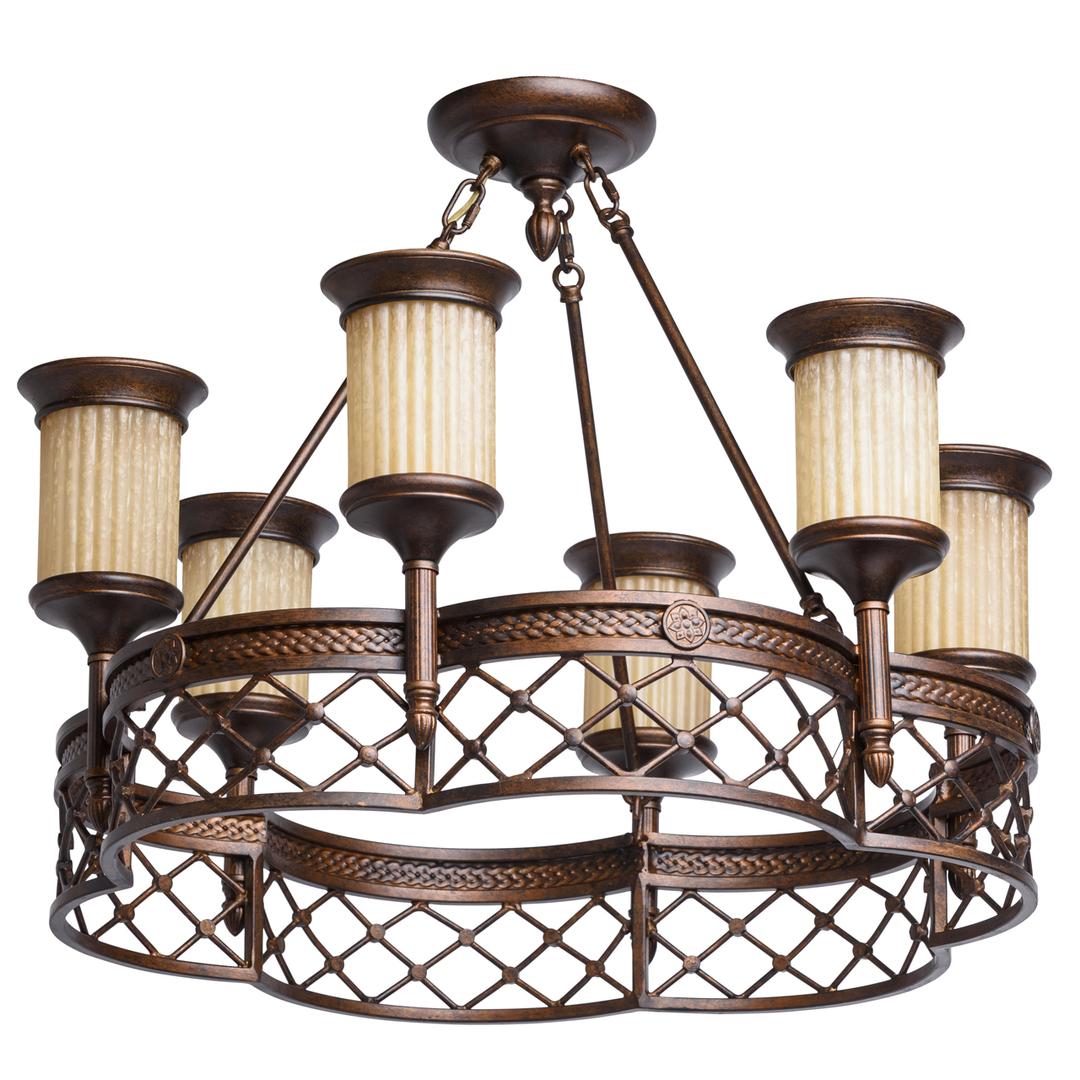 Lampa wisząca Magdalena Country 6 Brązowy - 382010206