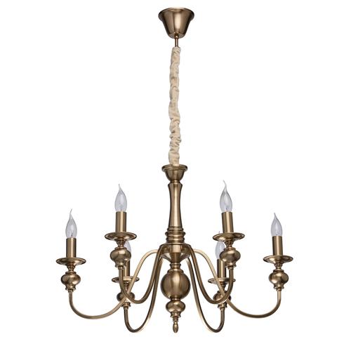 Lampa wisząca Consuelo Classic 6 Mosiądz - 614010506