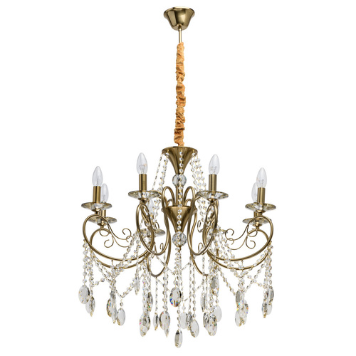 Lampa wisząca Selena Crystal 8 Mosiądz - 482016408