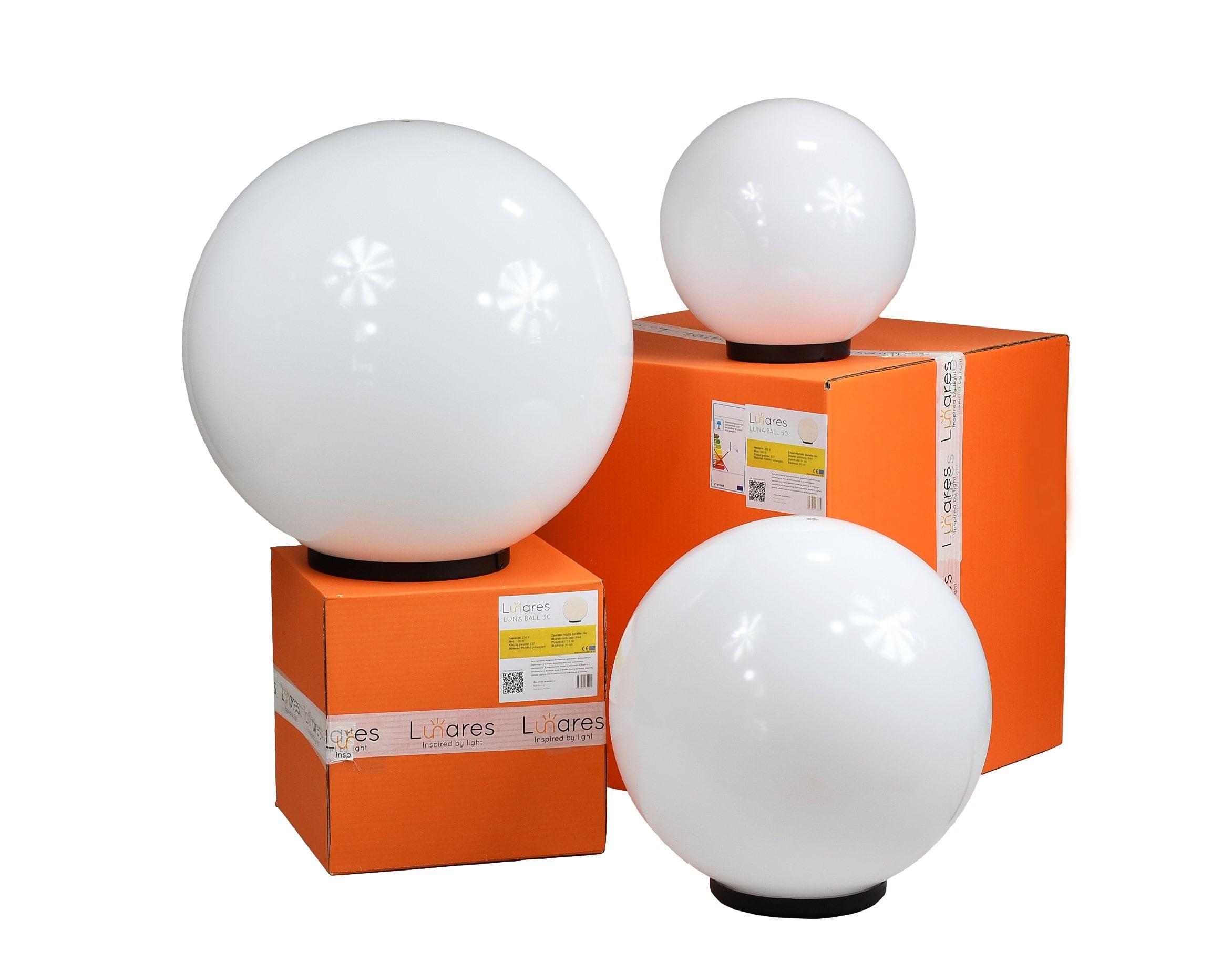 Zestaw dekoracyjne kule ogrodowe - Luna Balls 25, 30, 40 cm + Żarówki Led